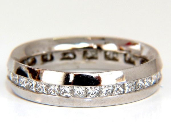1.50ct Natural Princess cut diamonds eternity ring 14kt Comfort 5mm