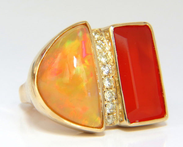 17.44ct Natural Opal & Garnet Diamonds ring 14kt Deco Prime
