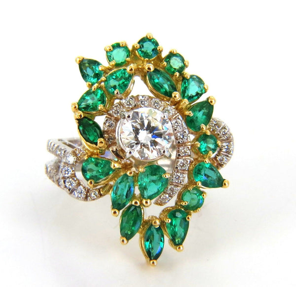 GIA certified 4.06ct. Emerald & Diamonds Cocktail Cluster ring 18kt