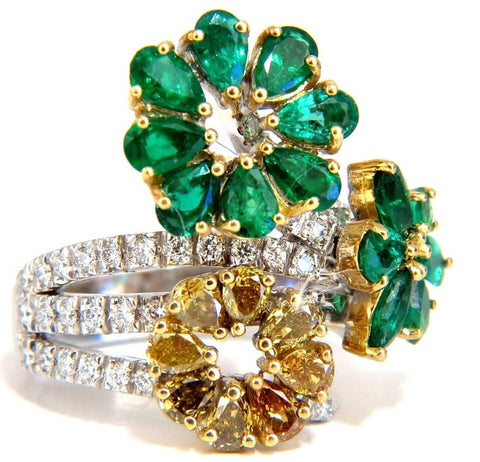 4.36ct Natural Emeralds diamond cocktail cluster ring 18kt