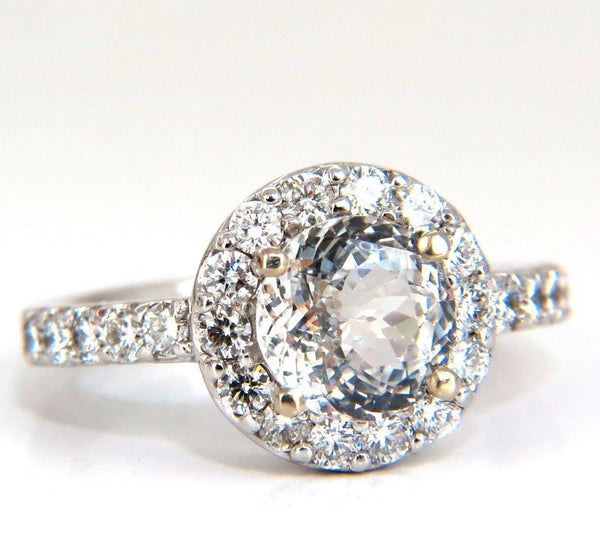 GIA Certified 3.28ct natural white sapphire diamonds ring 14kt halo prime
