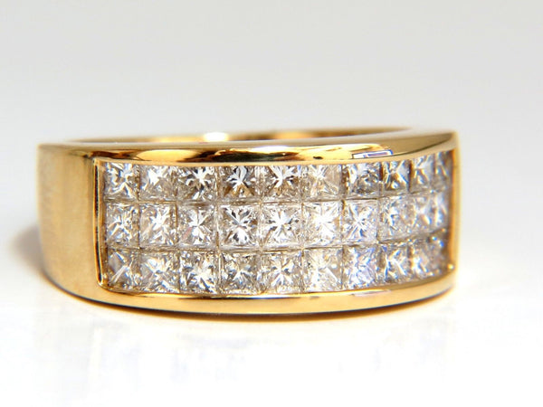 1.85 Natural Princess Diamond Band Ring 14kt channel row invisible