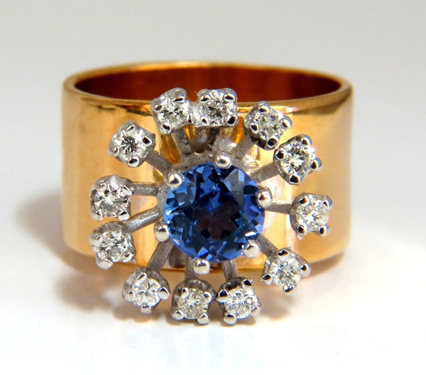 1.46ct natural round tanzanite diamonds ring 14kt cluster halo