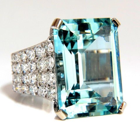GIA Certified 28.26ct Natural Aquamarine diamonds ring Vivid 14kt