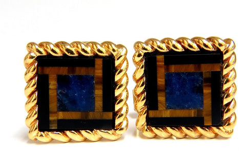 14kt Inlay Onyx Lapis & Tiger Eye Twist cufflinks