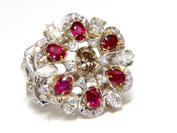 18kt Natural Fancy color Diamond Ruby Cocktail Cluster ring