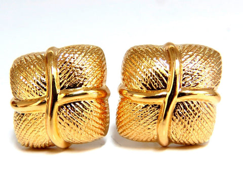 14kt Gold Textured Clip Earrings & Omega
