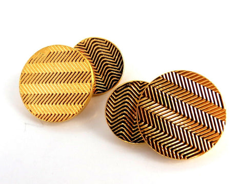 14kt 3D circular double textured Gold cufflinks