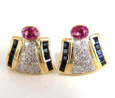 7.30ct Natural Pink Sapphire Diamond Clip Earrings 18kt Retro Prime