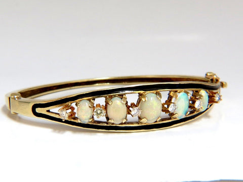 6.60ct natural Australian opals diamond bangle cocktail bracelet 14kt Vintage