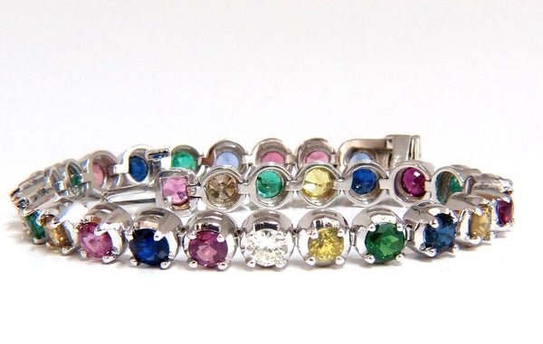 10.30ct natural ruby emerald sapphires diamond tennis bracelet 14kt gem line
