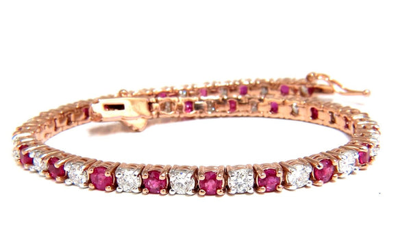 6.51ct vivid red natural ruby diamonds alternating tennis bracelet 14kt