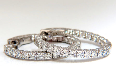 1.52ct. Natural Round Diamonds Hoop Earrings 14 Karat