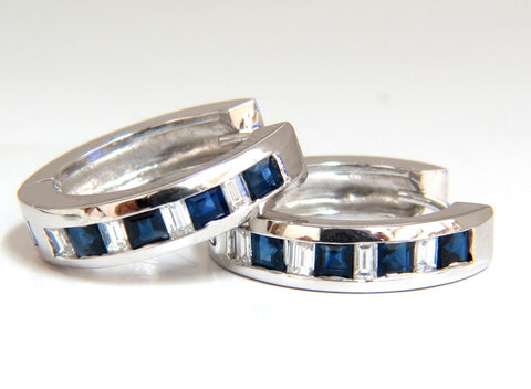 1.70ct Natural Sapphires & diamonds Huggie Earrings
