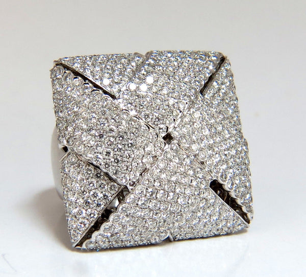 7.15ct 3D Unisex Cross weave Dome Diamond Ring 18 karat