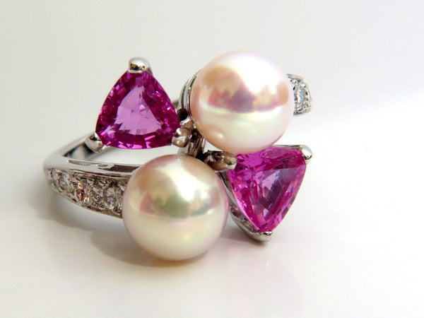 7.8mm Natural South Seas Pink sapphire Diamods rings