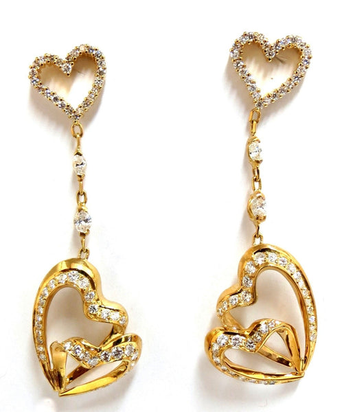 3.00ct Natural Diamonds Hearts on Hearts Dangle Earrings 18 karat