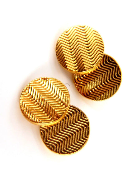 14kt 3D circular double textured Gold cufflinks tread lines