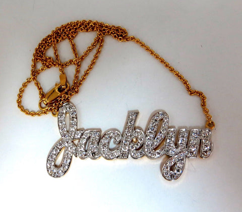 1.50ct natural diamonds Jacklyn Name plate necklace 14 Karat