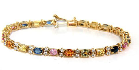 7.80ct. Natural Sapphire Diamonds Bracelet Multicolor 14 Karat