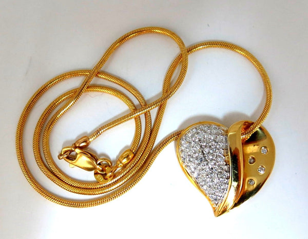 Diamonds Heart Necklace .60ct Snake Link Chain 14 Karat