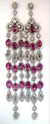 34.68ct Natural Pink Sapphire Diamonds Chandelier Earrings 18 Karat Dangle Lust