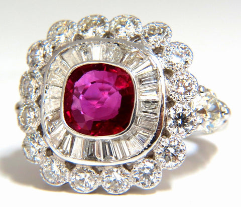 Ballerina Cocktail Cluster No Heat Ruby Diamond Ring 4.58ct. 18 Karat