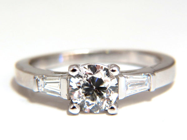 GIA Certified .90ct + .36ct Round Diamond Engagement Ring Platinum