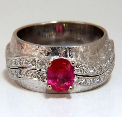 GIA Certified 1.24ct No Heat Ruby Diamond Ring 14 Karat 11mm Band