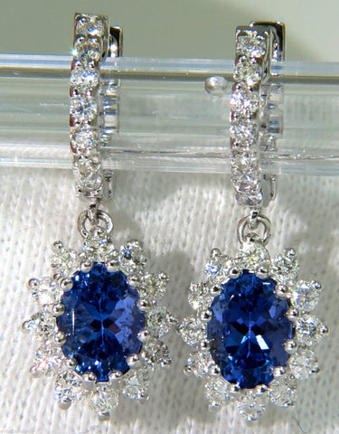 3.64CT Natural Tanzanite Diamonds Dangle Earring 14KT Hoop / Cluster