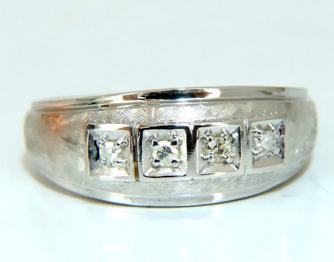 Mens .15ct natural round cut diamonds wide band bead 14 karat