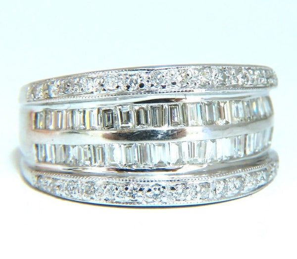 1.70ct Natural Baguette & Rounds Diamonds Band 18 Karat 4-row sandwich deck