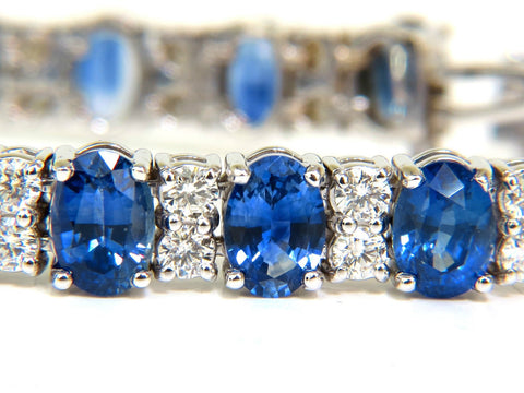 18KT 24.32CT NATURAL FINE GEM SAPPHIRES DIAMOND BRACELET CLASSIC BLUES