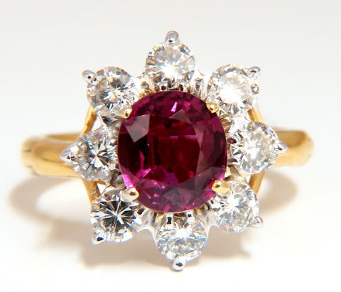 GIA Certified 3.20ct No Heat Natural Ruby Diamonds ring 14 Karat