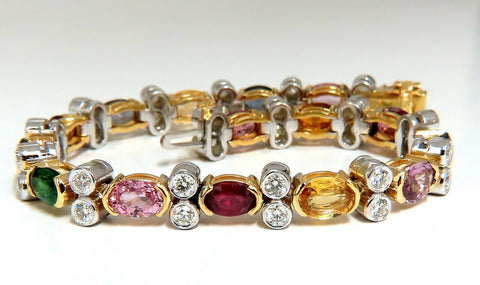 14.35ct Natural Spinel, Ruby, Sapphire, Green Garnet diamonds bracelet Gemline