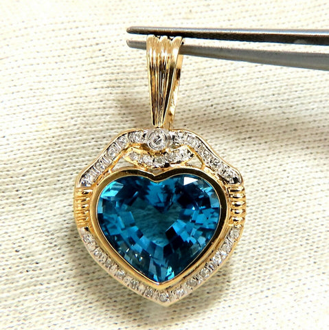 15.33ct Natural Heart Blue Topaz Diamonds Pendant 14 Karat