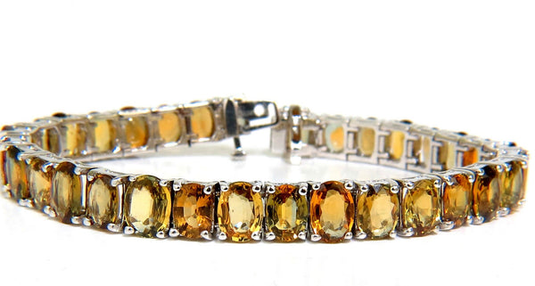 33.00ct. NATURAL GEM YELLOW GREEN ORANGE COLOR SAPPHIRES TENNIS BRACELET