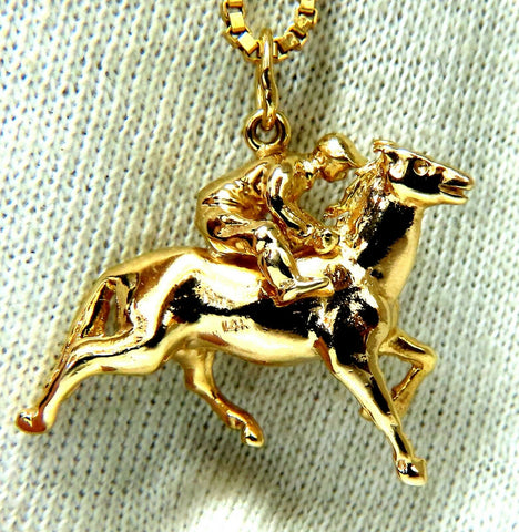 Jockey High Speed Derby Racer Necklace 14 Karat