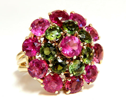 10.50ct Natural Pink Green Tourmaline Ring Ballerina Gypsy Cluster Cocktail 14Kt