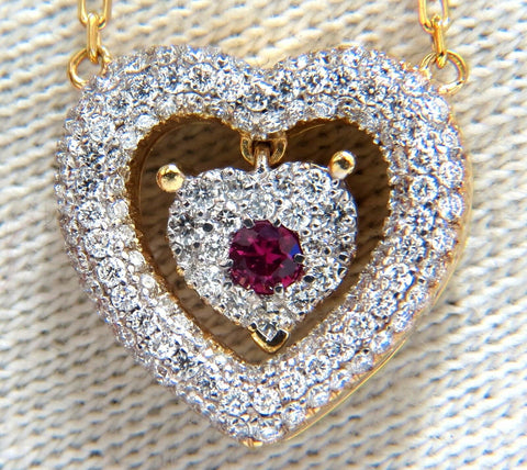 .75ct natural ruby diamonds dangle heart necklace 18kt