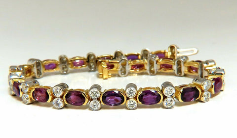 12.90ct Natural Ruby Diamonds Bracelet 14 Karat Two Toned