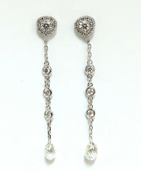 2.20ct Natural Briolette Diamonds Dangle Station Yard Earrings 14 Karat