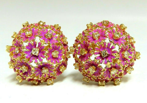 1.52ct Natural Fancy Yellow Diamonds Floral Dome Cluster Clip Earrings 14 Karat
