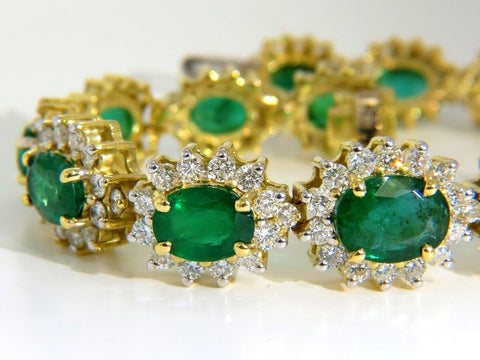 22.50CT NATURAL EMERALDS DIAMONDS BRACELET 18KT G/VS ZAMBIAN VIVID