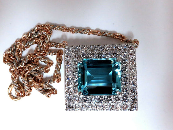 "GIA Certified 25.48ct. Natural ""Blue"" Aquamarine 15ct Diamonds Necklace 18 Karat"