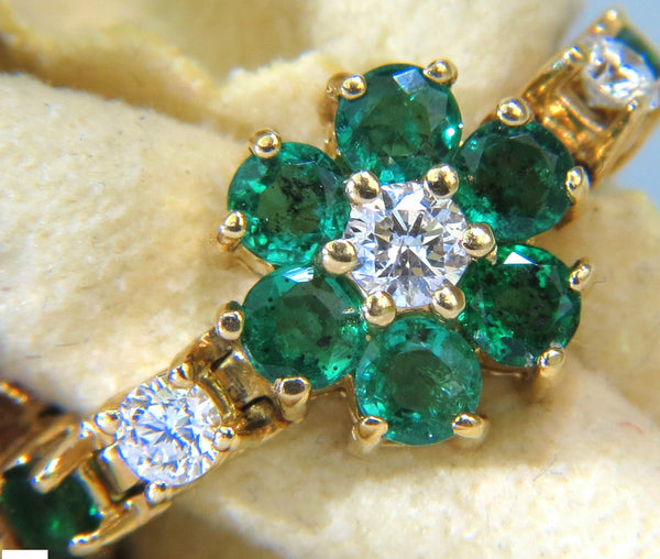 5.75CT NATURAL FINE EMERALD DIAMONDS TENNIS CLUSTERS BRACELET 14KT