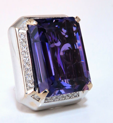 37.23Ct Natural Amethyst Diamond Ring 18 Karat Cocktail Cluster