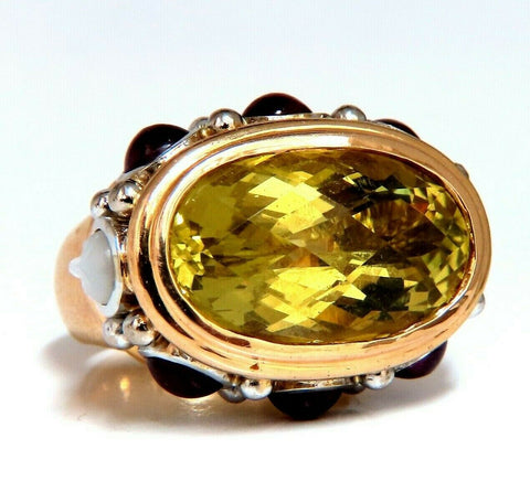 25ct Natural Lemon Quartz Vintage Ring 19 Karat Vintage Middle East 52 Gram