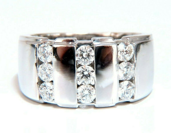 1.05ct Natural Round cut Diamonds mens band 14kt Channel (9) Comfort Fit