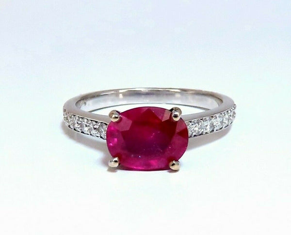 GIA Certified 3.06ct red ruby diamonds ring 14 Karat